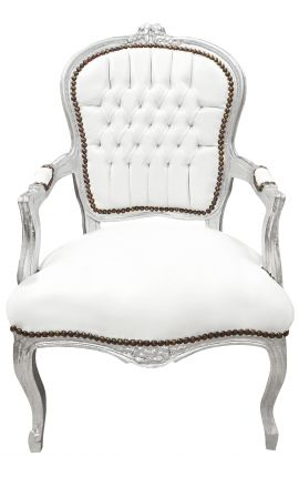 Baroque armchair of style Louis XV white faux leather and silver wood