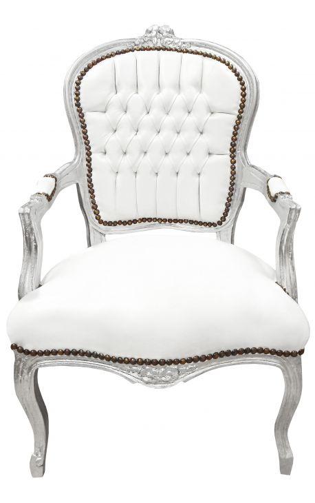 Стиль барокко кресло Louis XV белая кожа и серебро дерево
