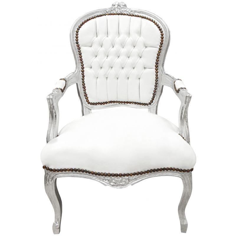 Fauteuil Baroque De Style Louis Xv Simili Cuir Blanc Et Bois Argent