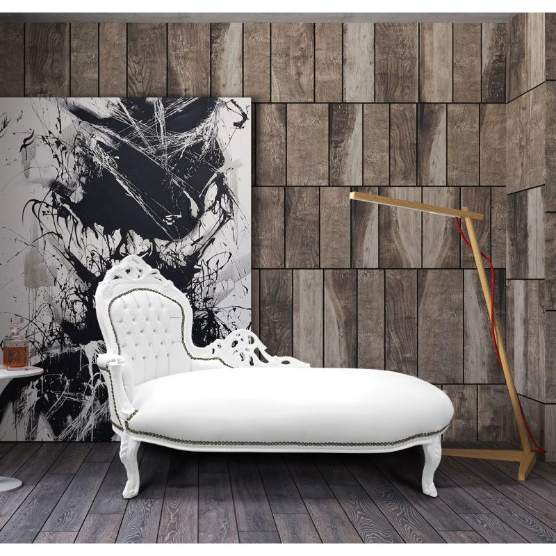 large baroque chaise longue white leatherette and white wood. Black Bedroom Furniture Sets. Home Design Ideas