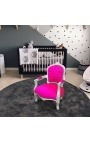 Armchair for child fuchsia velvet and silver wood