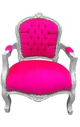 Baroque armchair for child fuchsia velvet and silver wood