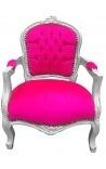 Барокко стул ребенка розовый бархат Фушия и серебро дерево