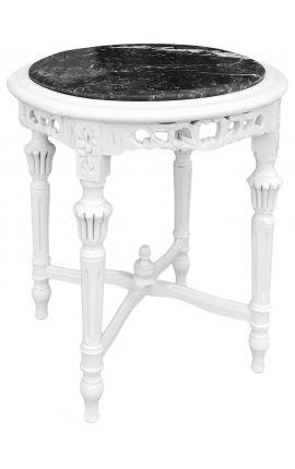 Sellette ronde et bois laqué blanc de style Louis XVI avec marbre noir