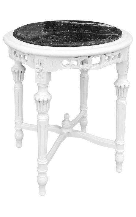 Nice round white lacquered wood flower table Louis XVI style black marble