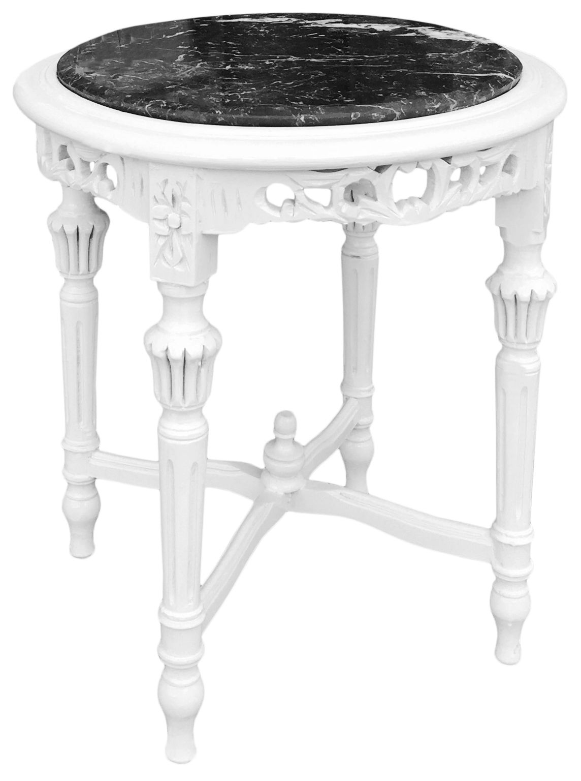 Round Louis Xvi Style Black Marble Side Table With Glossy White Wood
