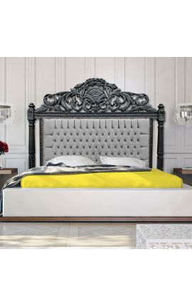 Baroque bed headboard grey velvet and matte black wood