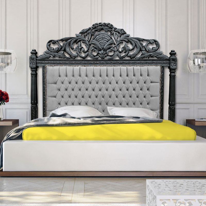 t te de lit baroque en velours gris et bois noir mat. Black Bedroom Furniture Sets. Home Design Ideas