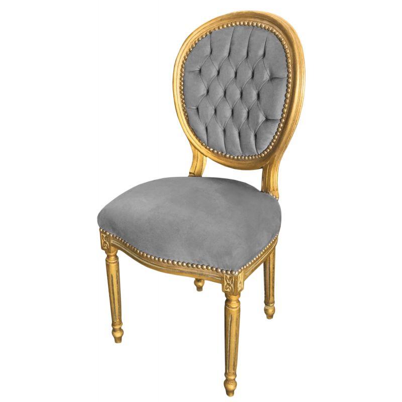chaise de style louis xvi tissu velours gris et bois dor patin. Black Bedroom Furniture Sets. Home Design Ideas