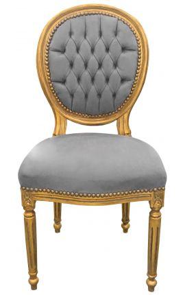 Chaise de style Louis XVI tissu velours gris et bois doré patiné