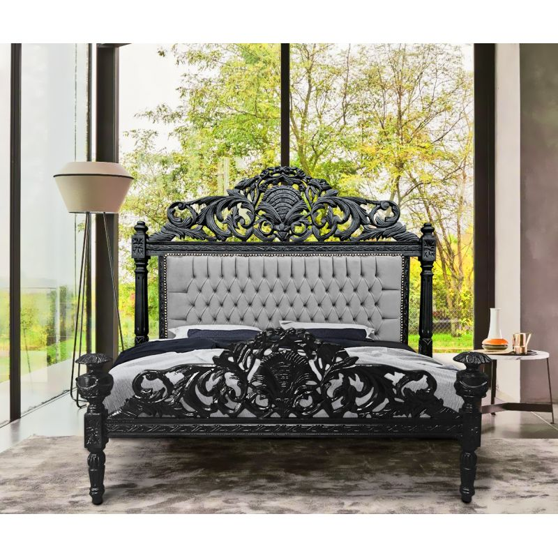 lit baroque velours gris et bois noir mat. Black Bedroom Furniture Sets. Home Design Ideas