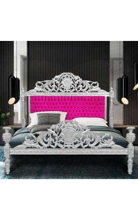 Baroque bed fuchsia velvet fabric and silver wood