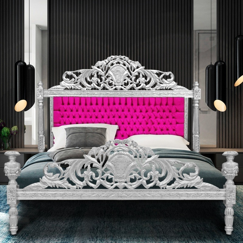 lit baroque tissu velours fuchsia et bois argent. Black Bedroom Furniture Sets. Home Design Ideas
