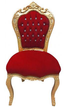 Chaise de style Baroque Rococo bordeaux avec strass, pompon et bois doré