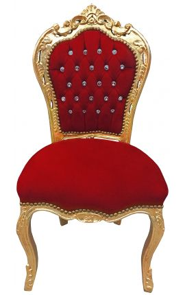 Baroque Rococo style burgundy chair with rhinestone, tassel & gilded wood
