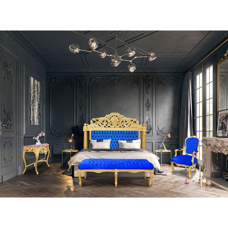 t te de lit baroque en velours bleu fonc et bois dor. Black Bedroom Furniture Sets. Home Design Ideas