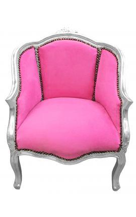 Bergère de style Louis XV tissu velours rose et bois argent