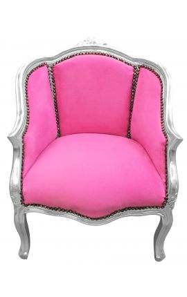 Bergere armchair Louis XV style pink velvet and silver wood