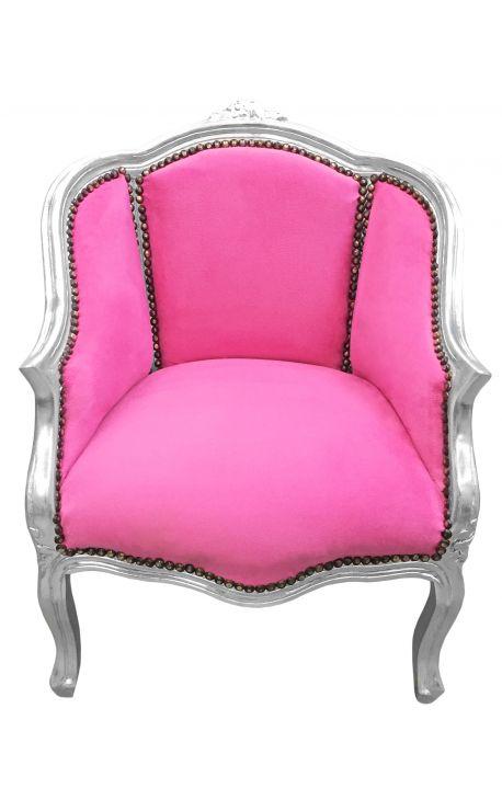 Кабриолет кресло Louis XV стиле розовый бархат и серебряная древесина