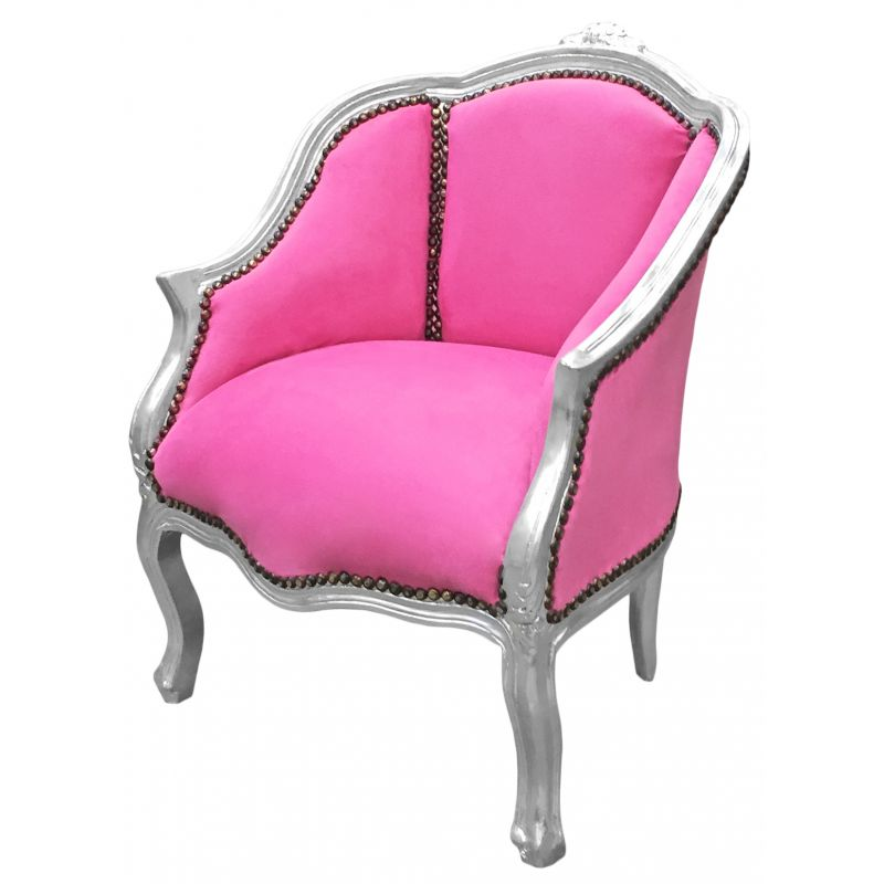 Baroque Bergere Armchair Louis Xv Style Pink Velvet And