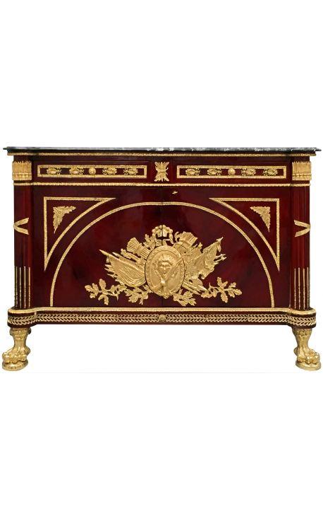 Commode buffet de style Empire avec bronzes dorés et marbre noir