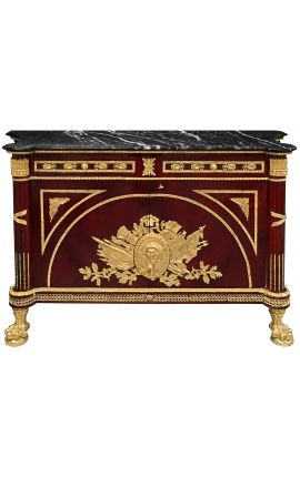 Large French Empire style mahogany dresser with black marble