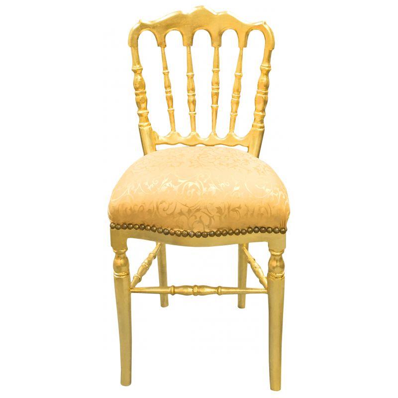 chaise de style napol on iii tissu satin dor et bois dor. Black Bedroom Furniture Sets. Home Design Ideas