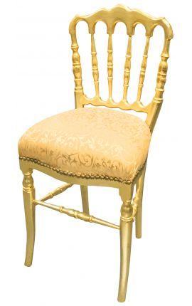 Chaise de style Napoléon III tissu satiné doré et bois doré