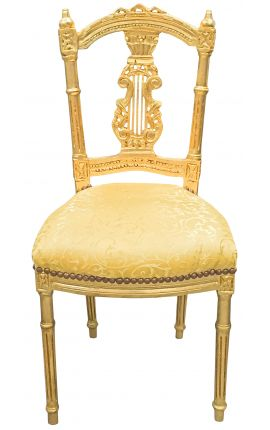 Harp chair with gold satin fabric and gilded wood