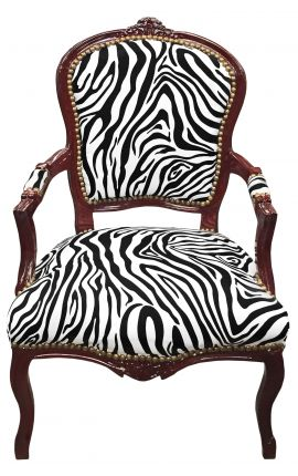 [Limited Edition] Baroque armchair Louis XV zebra fabric and mahogany tainted wood