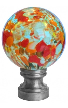 blown glass ball for banister multicolor blue style Murano