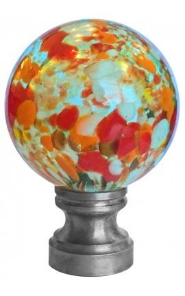 Boule d'escalier en verre soufflé transparente façon Murano