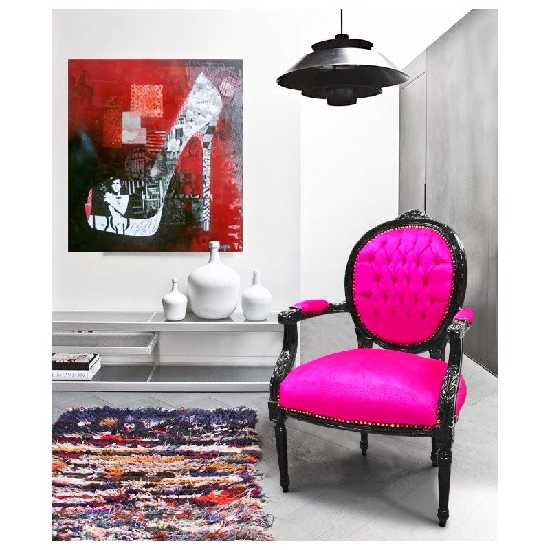 baroque armchair louis xvi fuchsia texture and black lacquered wood. Black Bedroom Furniture Sets. Home Design Ideas