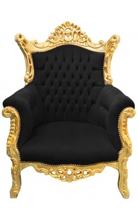 Grand Rococo Baroque armchair black velvet and gilded wood