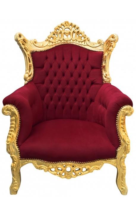 Grand fauteuil Baroque rococo velours bordeaux et bois doré