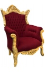 Grand Rococo Baroque armchair burgundy velvet and gilded wood