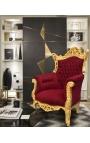 Гранд рококо барочное кресло бордового бархата и позолоченной древесины