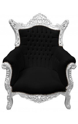 Grand Rococo Baroque armchair black velvet and silver wood