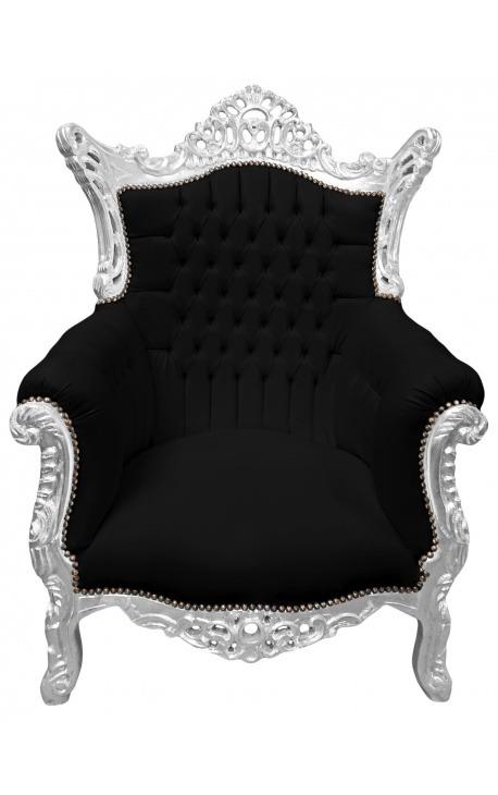 Grand fauteuil Baroque rococo velours noir et bois argent