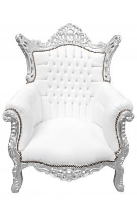 Grand fauteuil Baroque rococo simili cuir blanc et bois argent