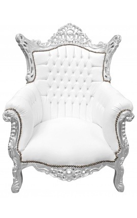 Grand Rococo Baroque armchair white leatherette and silver wood