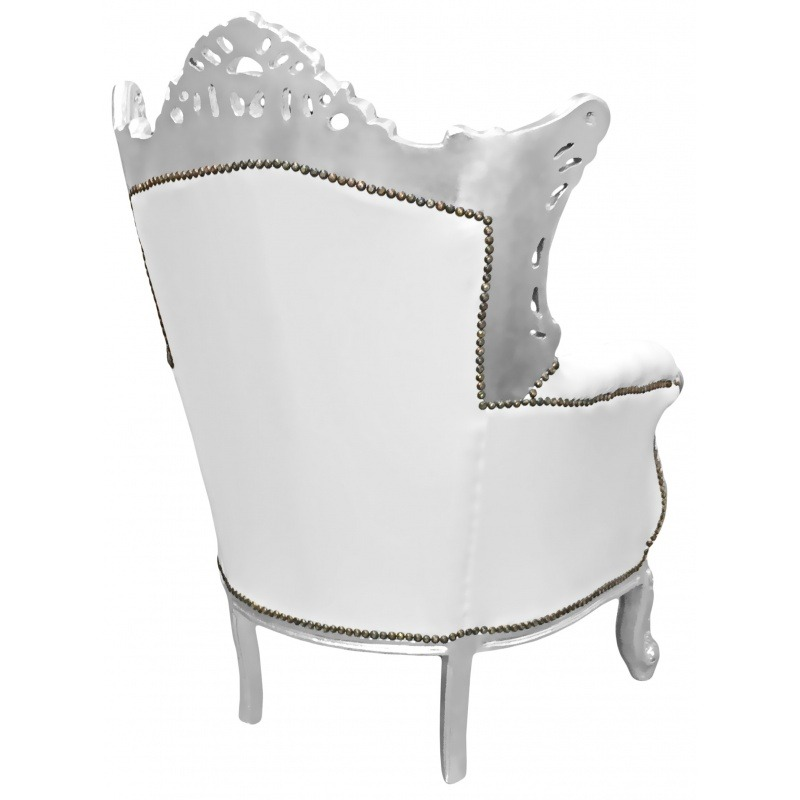 Grand rococo baroque armchair white leatherette and silver