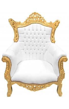 Гранд рококо барочное кресло из искусственной кожи и золотой древесины