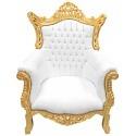 Grand fauteuil Baroque rococo simili cuir blanc et bois doré