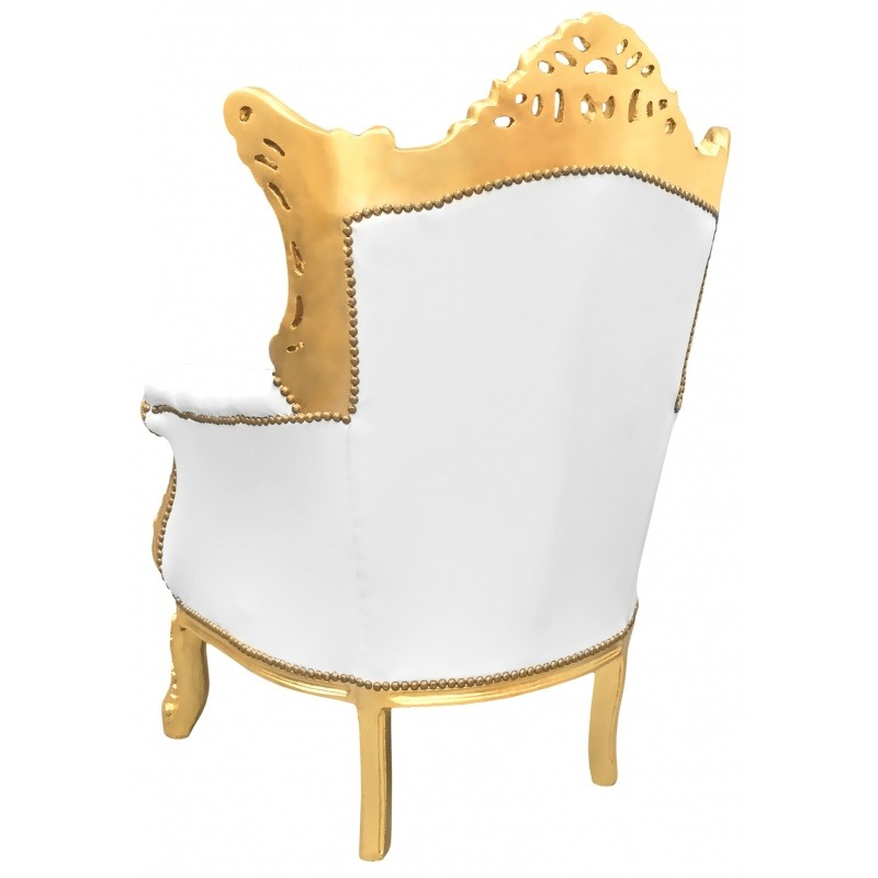 Grand rococo baroque armchair white leatherette and gold wood