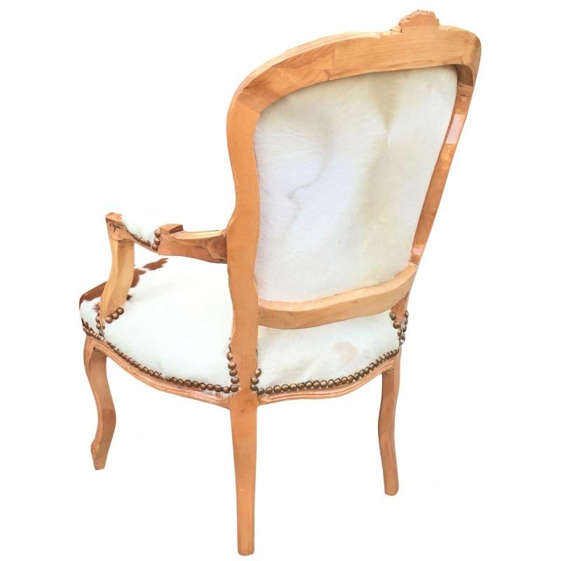 fauteuil baroque de style louis xv peau de vache marron bois naturel. Black Bedroom Furniture Sets. Home Design Ideas