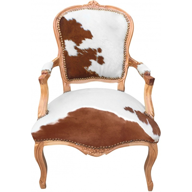 fauteuil baroque de style louis xv peau de vache marron bois naturel. Black Bedroom Furniture Sets. Home Design Ideas