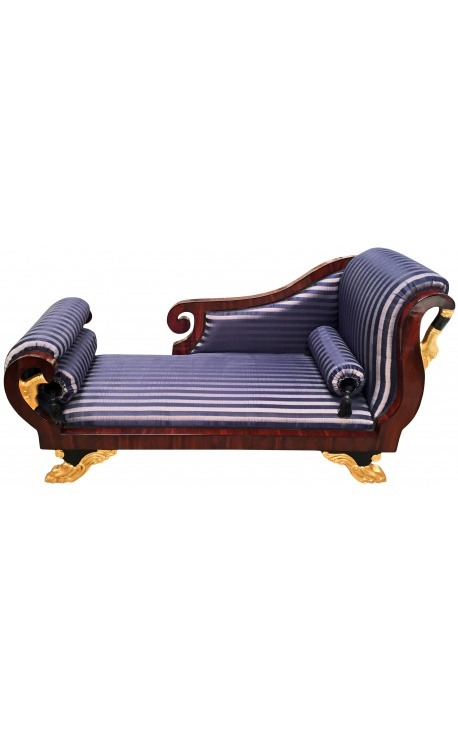 Grand daybed French Empire style blue stripes satin fabric