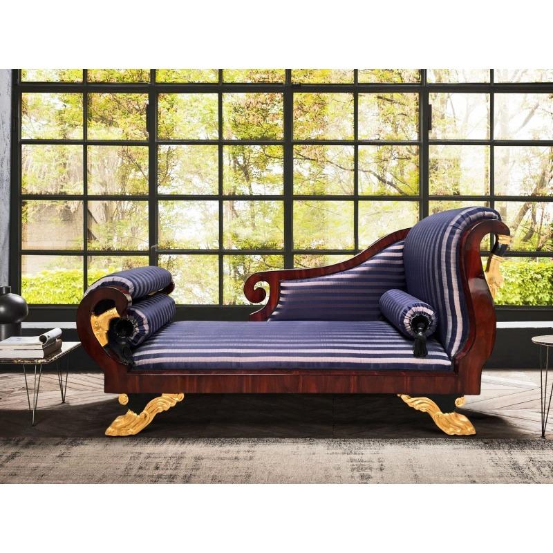 grande m ridienne de style empire tissus satin ray bleu. Black Bedroom Furniture Sets. Home Design Ideas