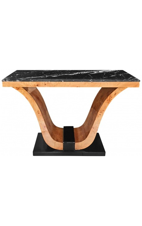 Art Deco console with elm burl inlaid and black marble